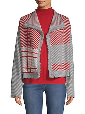 Image of From the Saks IT LIST MAD FOR PLAID See the traditional check in dozens of new ways. At St. John it's all about modern opulence - and the tweed jacket. Here, the classic item is transformed into a cozy cardigan sweater, boasting a blown-up plaid alongside