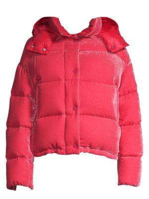 Caille Velvet Puffer Jacket, Dark Pink