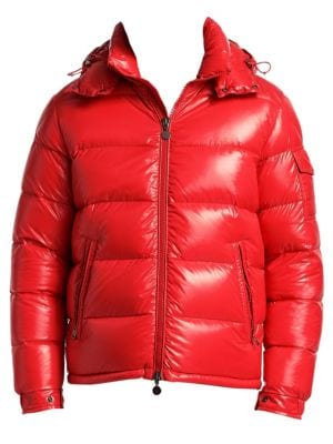 MONCLER MEN'S MAYA SHINY DOWN PUFFER JACKET WITH HOOD, RED