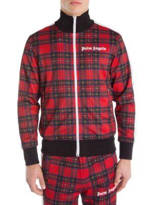 PALM ANGELS Men'S Royal Stewart Tartan Track Jacket in Red