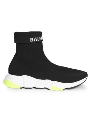 Men'S Speed High-Top Stretch-Knit Sock Sneakers, Black White