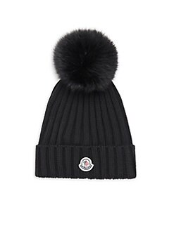 c1a5be1a427 Moncler. Fox Fur Pom-Pom Ribbed Hat