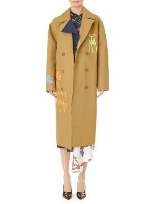 Double-Breasted Maxi Coat, Caramel Multi