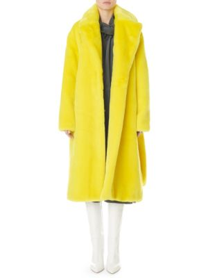 Oversized Faux-Fur Belted Trench Coat, Yellow