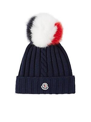 15e5fe29ab5 Moncler - Tricolor Fur Pom Pom Toque - saks.com