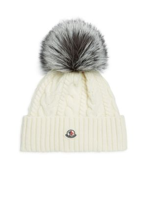 Cable Knit Beanie With Genuine Fox Fur Pom - White