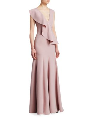 RACHEL GILBERT Adeline Deep V-Neck Ruffle A-Line Gown in Pink
