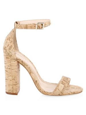 SCHUTZ Women'S Enida High Block-Heel Sandals in Natural Cork Fabric