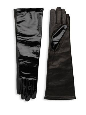AGNELLE Glamour Leather Opera-Length Gloves, Black