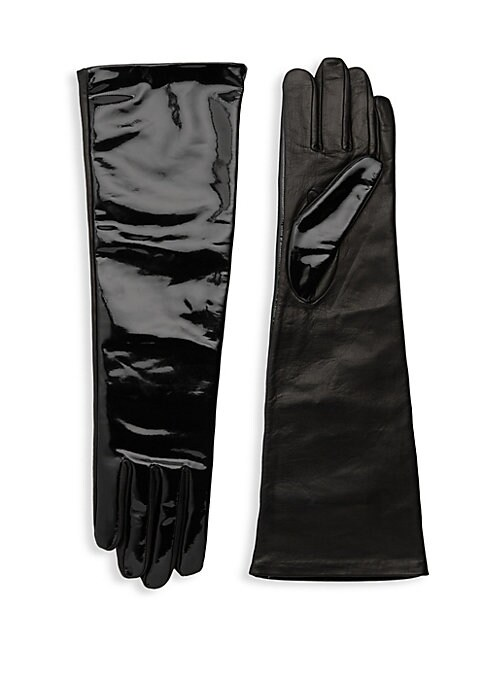 """Image of Glossy leather opera-length gloves with supple silk lining add instant drama. Silk lining. Lambskin leather. Dry clean by a leather specialist. Imported. SIZE.16.5"""" long."""