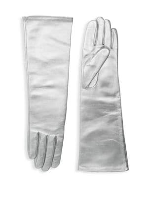AGNELLE Glamour Leather Opera-Length Gloves, Silver