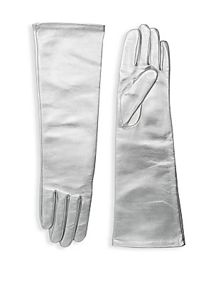 """Image of Metallic leather gloves with supple silk lining in an opera-length add instant drama. Silk lining Lambskin leather Dry clean by a leather specialist Imported SIZE 16.5"""" long. Soft Accessorie - Womens Gloves. Agnelle. Color: Silver. Size: 7."""