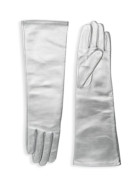 """Image of Metallic leather gloves with supple silk lining in an opera-length add instant drama. Silk lining. Lambskin leather. Dry clean by a leather specialist. Imported. SIZE.16.5"""" long."""