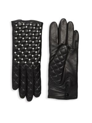 AGNELLE Chloe Quilted Leather Pearl Gloves, Black
