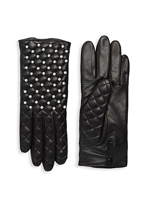 """Image of Textured quilting and faux-pearls add elegance to supple lambskin leather gloves with cozy cashmere lining. Cashmere lining. Lambskin leather. Dry clean by a leather specialist. Imported. SIZE.9"""" long."""