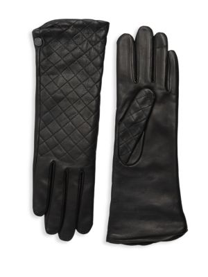 AGNELLE Plain Quilted Leather Gloves, Black