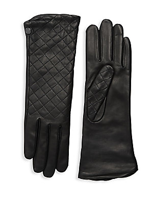 """Image of Quilting adds a lovely texture to supple lambskin leather gloves with cozy cashmere lining. Cashmere lining Lambskin leather Dry clean by a leather specialist Imported SIZE 12"""" long. Soft Accessorie - Womens Gloves. Agnelle. Color: Black. Size: 7."""