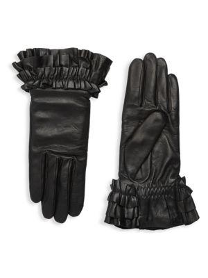 AGNELLE Frou Frou Leather Gloves, Black