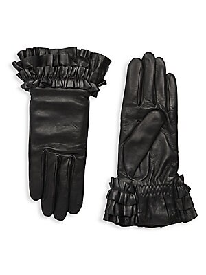 """Image of Pleated cuffs add a soft, feminine accent to supple lambskin leather gloves with cozy cashmere lining. Cashmere lining Lambskin leather Dry clean by a leather specialist Imported SIZE 9.75"""" long. Soft Accessorie - Womens Gloves. Agnelle. Color: Black. Siz"""