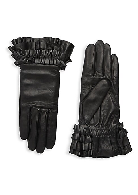 """Image of Pleated cuffs add a soft, feminine accent to supple lambskin leather gloves with cozy cashmere lining. Cashmere lining. Lambskin leather. Dry clean by a leather specialist. Imported. SIZE.9.75"""" long."""