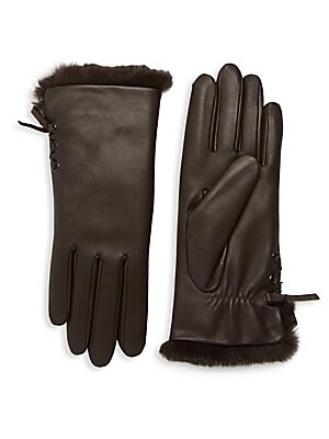"""Image of Supple lambskin leather gloves with cozy fur lining and lace-up side detail. Lambskin leather Fur type: dyed rabbit Fur origin: Spain Dry clean by a leather specialist Imported SIZE 10"""" long. Soft Accessorie - Womens Gloves. Agnelle. Color: Chocolate. Siz"""