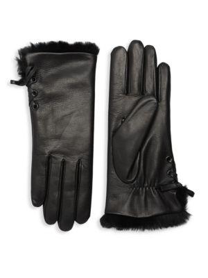 AGNELLE Aliette Rabbit Fur-Lined Leather Gloves, Black