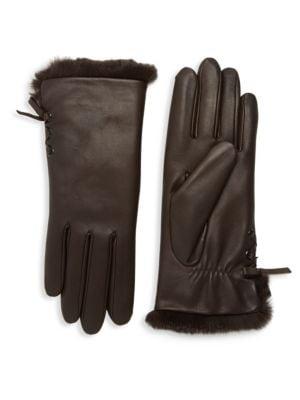 AGNELLE Aliette Rabbit Fur-Lined Leather Gloves, Chocolate