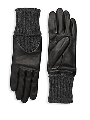 """Image of Supple lambskin leather gloves with a cozy cashmere rib-knit cuff and alpaca lining. Alpaca lining Lambskin leather/cashmere Dry clean by a leather specialist Imported SIZE 14.5"""" long. Soft Accessorie - Womens Gloves > Saks Fifth Avenue. Agnelle. Color: B"""
