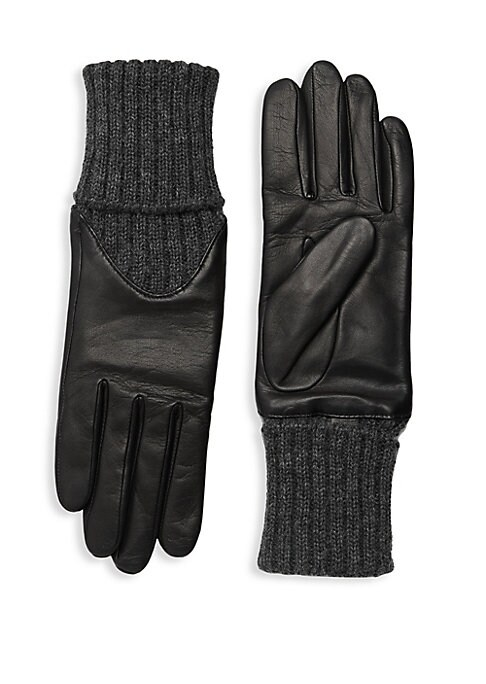 """Image of Supple lambskin leather gloves with a cozy cashmere rib-knit cuff and alpaca lining. Alpaca lining. Lambskin leather/cashmere. Dry clean by a leather specialist. Imported. SIZE.14.5"""" long."""