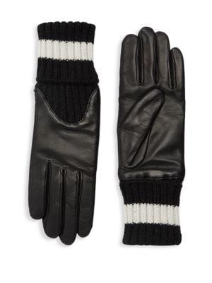 AGNELLE Cecelia Sport Leather Knit Gloves, Black White