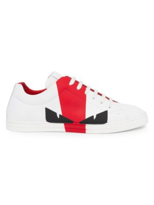 Leather Colorblock Sneakers by Fendi