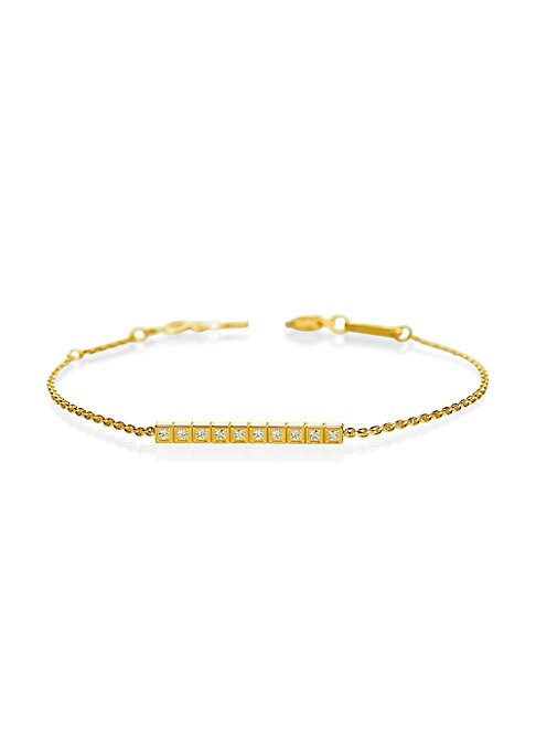 Image of Cubic geometric diamond design set in 18K yellow gold. Fairmined 18K yellow gold. Diamonds, 0.19tcw. Lobster clasp. Made in Switzerland.