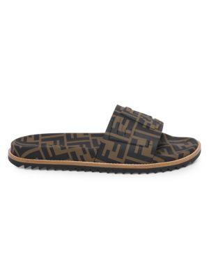 Men'S Rubber Pool Slide Sandals W/ Raised Logo Detail, Maya Nero