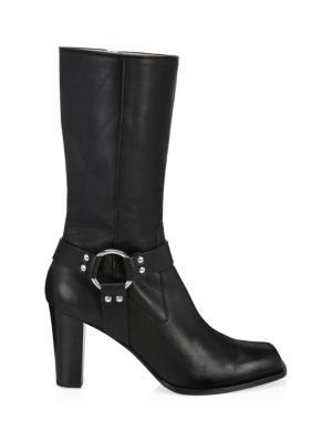 Luxy Harness Ankle Leather Boots, Black