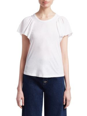 A.L.C Simone Flutter-Sleeve Cotton Tee in White