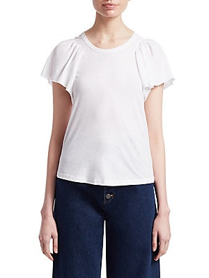 """Image of Ruffle sleeve tee designed in airy cotton Crewneck Short sleeves Pullover style About 24"""" from shoulder to hem Cotton Dry clean Made in USA Model shown is 5'10 (177cm) wearing US size Small. Contemporary Sp - Workshop. A.L.C. Color: White. Size: Small."""