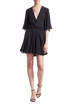 Ava Twist-Front Silk Mini Dress, Midnight