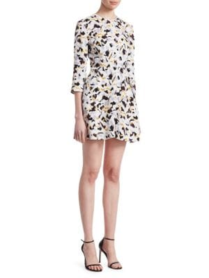 Terry 3/4-Sleeve Abstract-Print Silk A-Line Dress, Lilac Multi