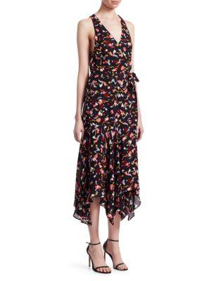 A.L.C Roslyn Print Handkerchief Hem Silk Wrap Dress in Coral Multi