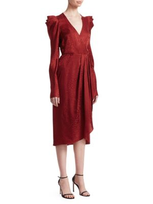 Carolina Pleated Long-Sleeve Silk Wrap Dress in Red