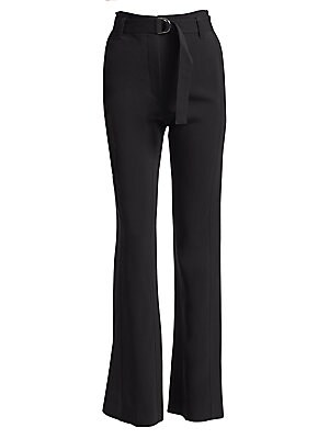 """Image of From the Saks IT LIST SUIT YOURSELF The new suit: equal parts precision tailoring and feminine fit. Belted D-ring pants with seamed detailing Belted waist Front zip-fly with concealed closure Front on-seam pockets Back welt pockets Rise, about 11"""" Inseam,"""