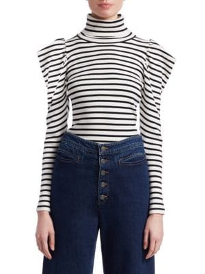 Baker Striped Puff-Sleeve Turtleneck Sweater, White Midnight