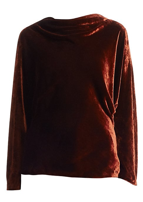 """Image of Luxe velvet top in cowl neck style. Cowl neck. Long sleeves. Pullover style. About 23"""" from shoulder to hem. Viscose/silk. Dry clean. Imported. .Model shown is 5'10"""" (177cm) wearing US size 4. ."""