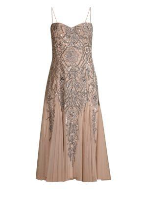 AIDAN MATTOX Sleeveless Beaded Midi Dress in Light Brown
