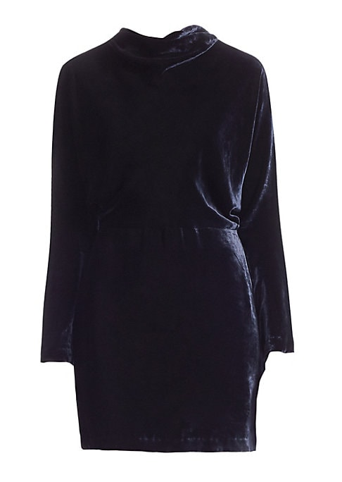 """Image of Luxe velvet dress in cowl neck style. Cowl neck. Long sleeves. Concealed back zip closure. About 25"""" from shoulder to hem. Silk/viscose. Dry clean. Imported. .Model shown is 5'10"""" (177cm) wearing US size 4. ."""