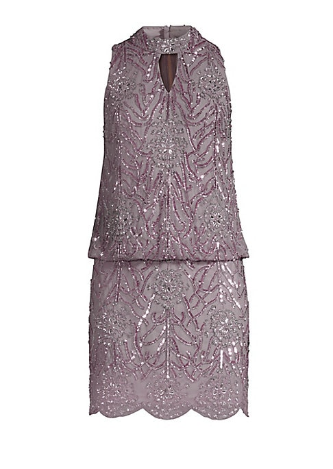 """Image of 1920's-inspired beading covers enchanting mini dress. Cutout halter neckline. Sleeveless. Concealed back zip. Blouson waist. Scalloped hem. About 33"""" from shoulder to hem. Polyester. Dry clean. Imported. Model shown is 5'10"""" (177cm) wearing a US size 4."""