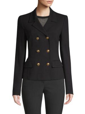 ESCADA Double-Breasted Short Jersey Blazer in Black