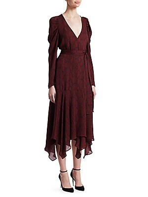 "Image of Printed wrap dress designed in airy silk V-neck Long sleeves Self-tie at waist About 52"" from shoulder to hem Silk Dry clean Imported Model shown is 5'10 (177cm) wearing US size 4. Contemporary Sp - Workshop > Saks Fifth Avenue. A.L.C. Color: Bordeaux. Si"