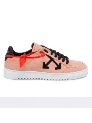 Carryover Snake-Print Leather Lace-Up Sneakers, Salmon