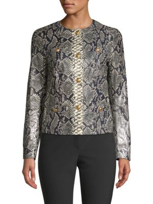 ESCADA Button-Front Snake-Print Lamb Leather Short Jacket W/ Golden Buttons in Fantasy
